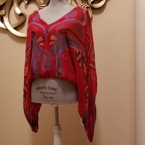 free people - Red and Blue Top